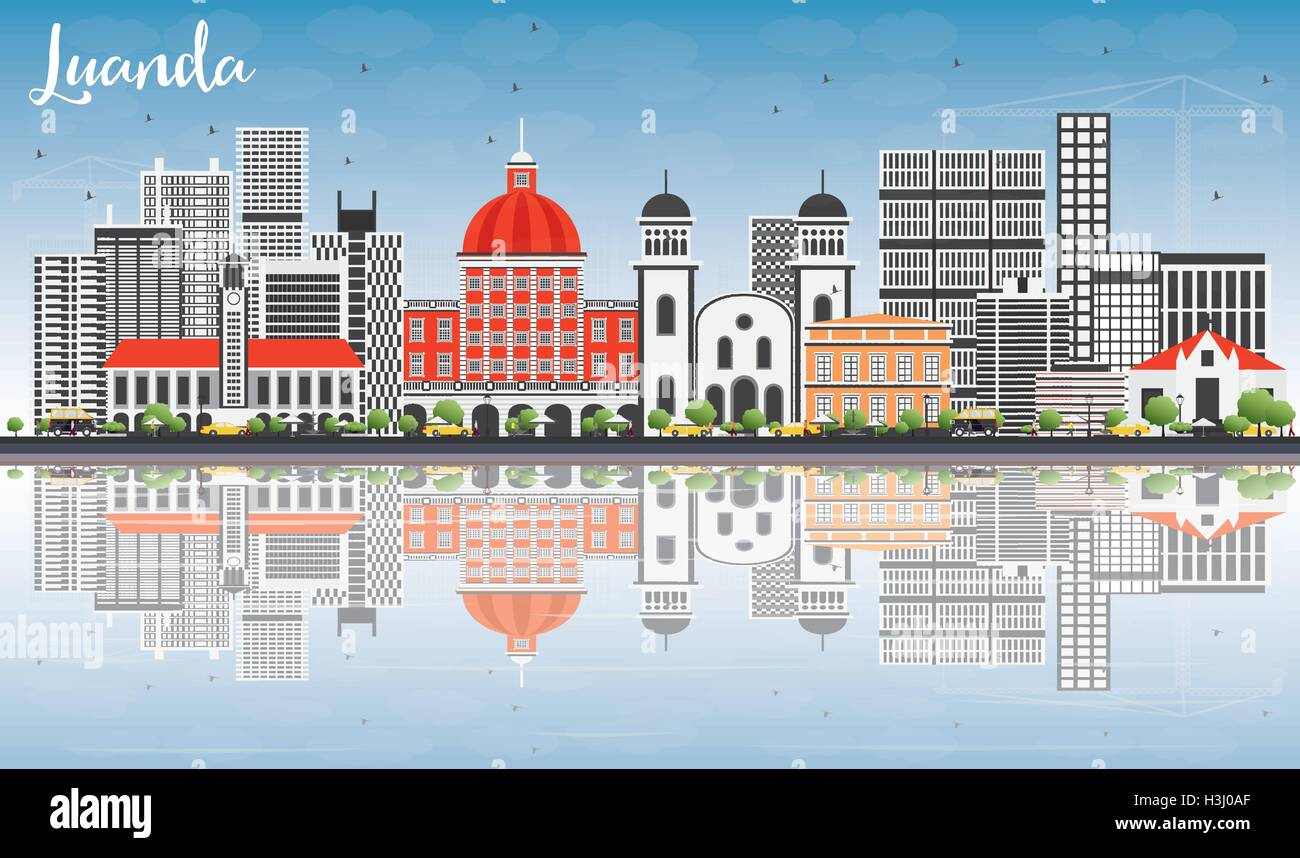 Luanda Skyline with Gray Buildings, Blue Sky and Reflections. Vector Illustration. Business Travel and Tourism Concept - Stock Vector