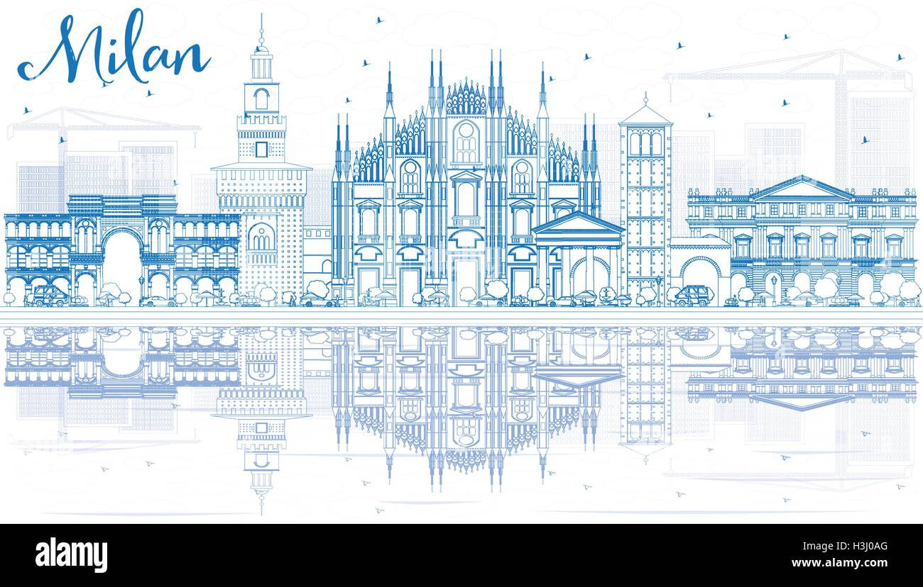 Outline Milan Skyline with Blue Landmarks and Reflections. Vector Illustration. Business Travel and Tourism Concept - Stock Vector