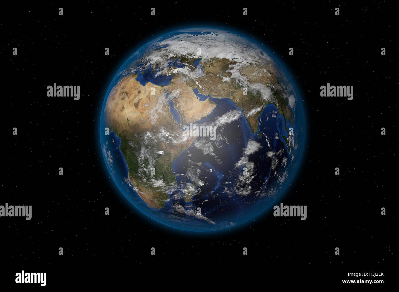 3D render of realistic planet Earth - Stock Image