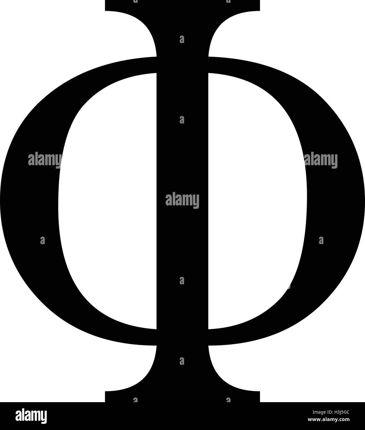 phi greek letter icon phi symbol black isolated vector illustration