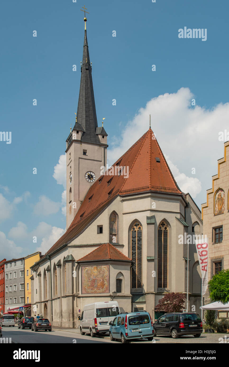 Frauenkirche, Wasserburg am Inns, Bavaria, Germany - Stock Image