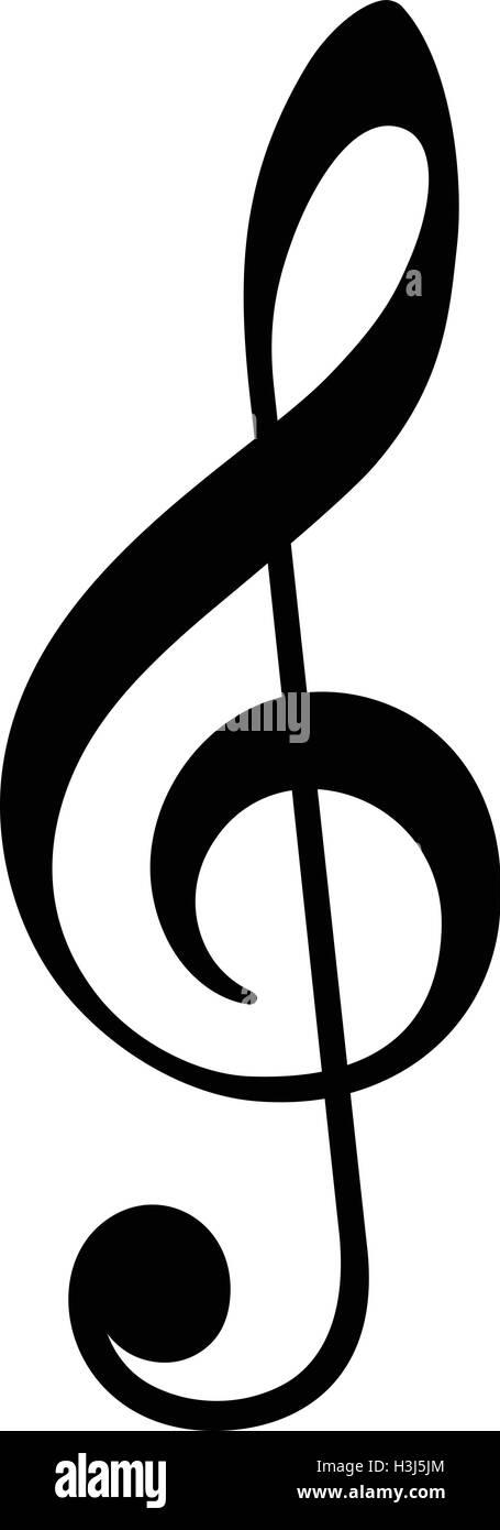 violin key black isolated vector icon music clef symbol stock image