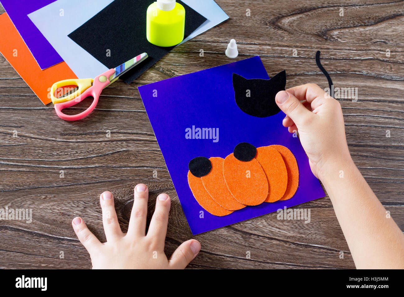 The Child Create A Greeting Card Halloween Paper Black Cat In Stock