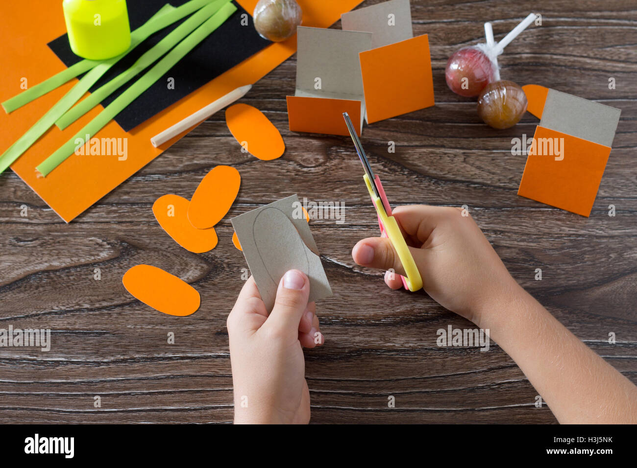 The Child Create A Greeting Packaging For Lollipop On Halloween