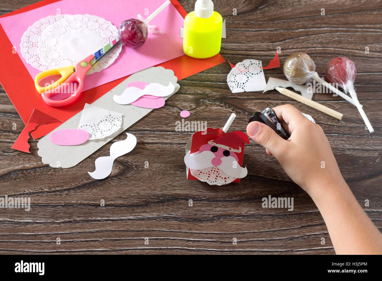 The Child Create A Greeting Packaging For Candy Santa Claus On Paper