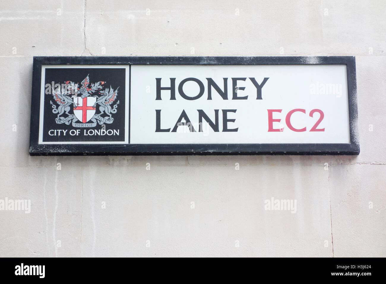 Honey Lane road sign, City of London, UK - Stock Image