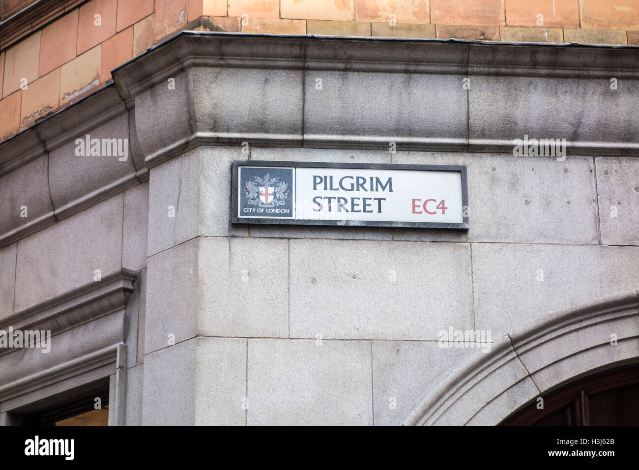 Pilgrim Street road sign, City of London, UK - Stock Image