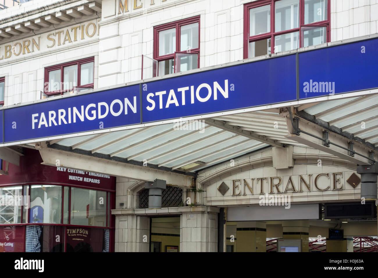 Farringdon Station entrance exterior sign, London, UK - Stock Image