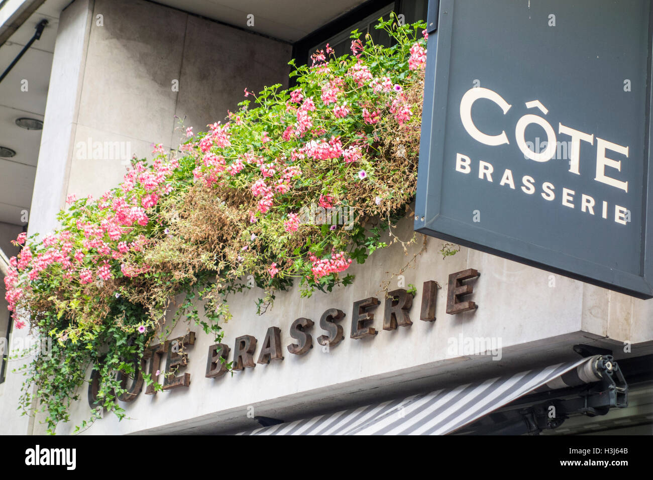 Cote Brasserie sign, London, Ludgate Hill, UK - Stock Image