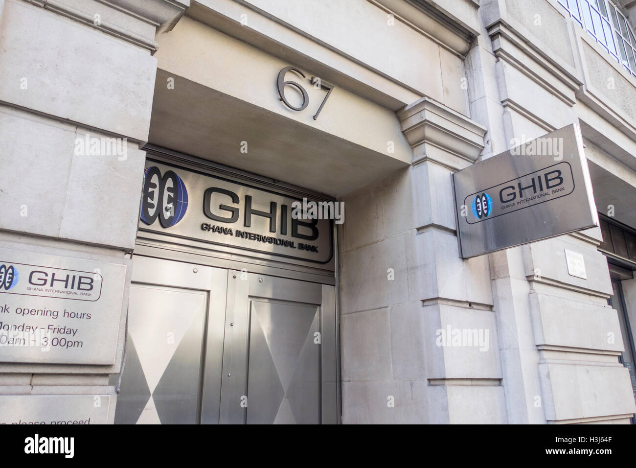 Ghana International Bank sign, Cheepside, London, UK - Stock Image