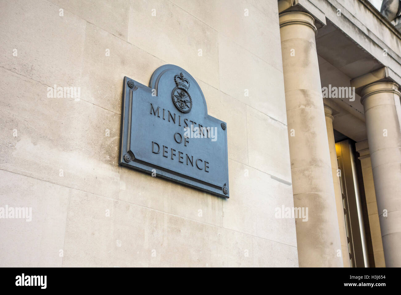 Ministry of Defence building sign, London, UK - Stock Image