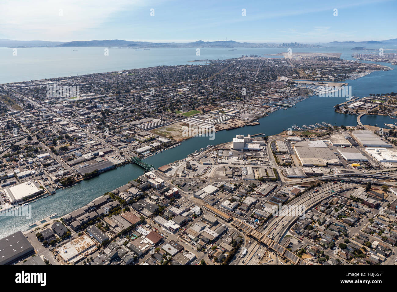 Aerial view of Alameda Island and the San Francisco Bay. - Stock Image