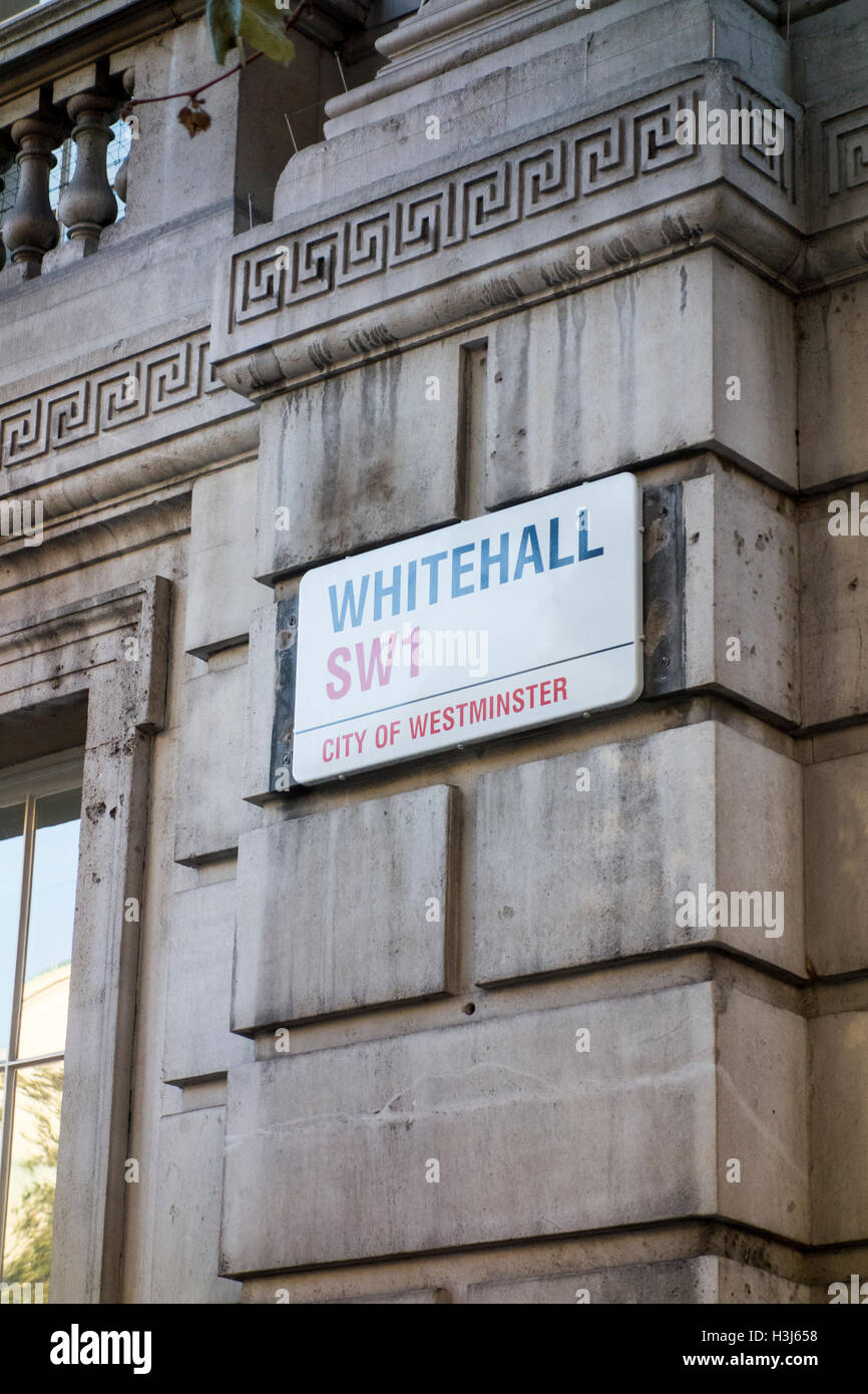 Whitehall road name sign. London, UK - Stock Image