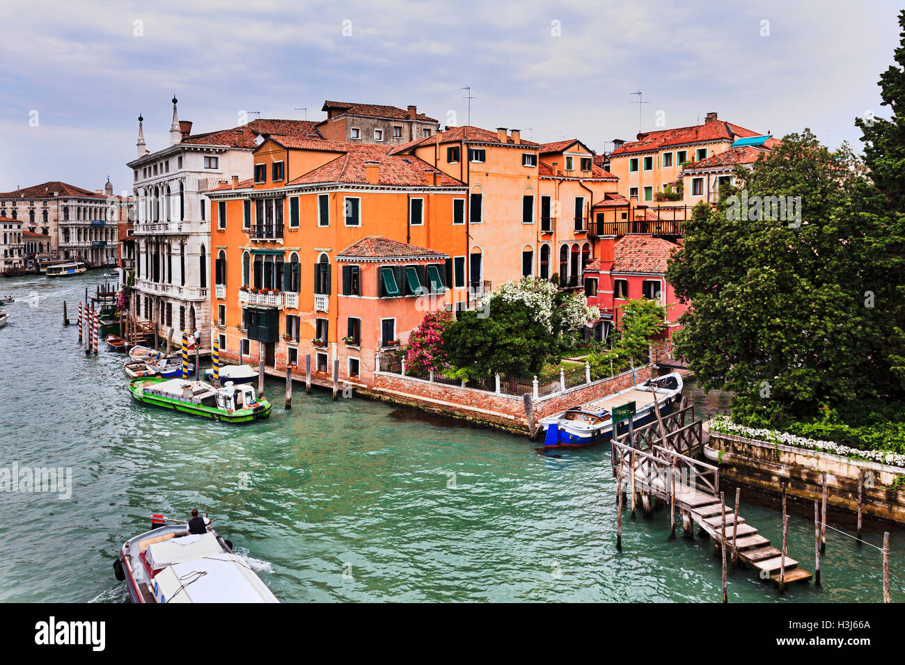 residential private palaces and houses in Venice along Grand Canal waterfront as seen from Accademia bridge when - Stock Image