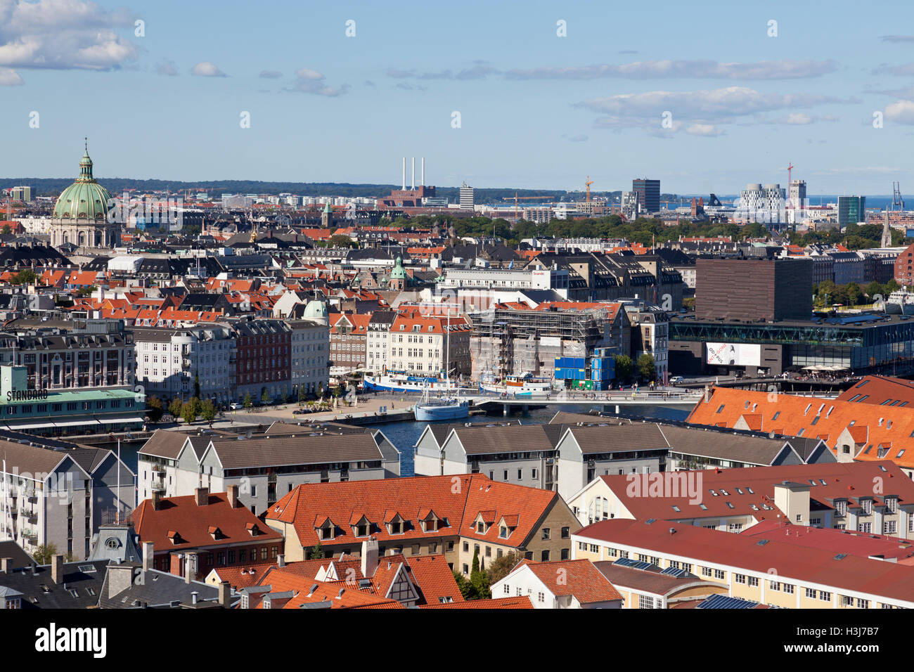 Aerial view of the historic district Frederiksstaden. Many Rococo buildings are hidden by modern buildings. See - Stock Image