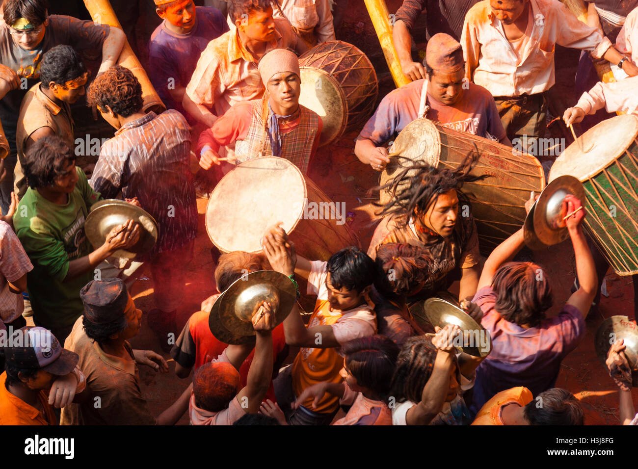 Sindoor Balkumari Jatra, a festival is celebrated in Thimi as part of Bisket Jatra (Nepali New Year) observed by Stock Photo