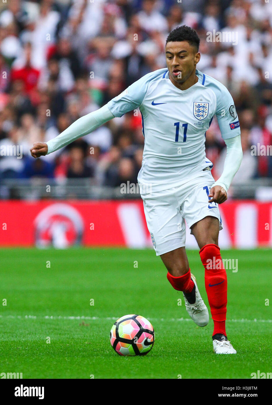 Jesse Lingard of England during the FIFA World Cup Qualifier match between England  and Malta at Wembley Stadium in London. October 8 4e2d3d2ac