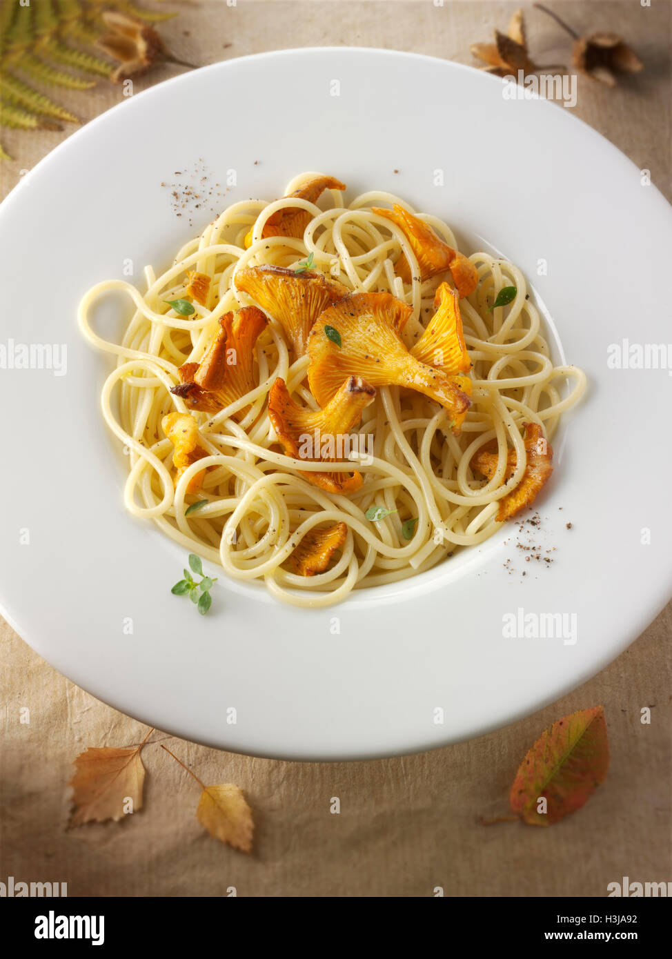 Wiild organic chanterelle or girolle Mushrooms (Cantharellus cibarius) or sauteed in butter and hebs with spaghetti - Stock Image