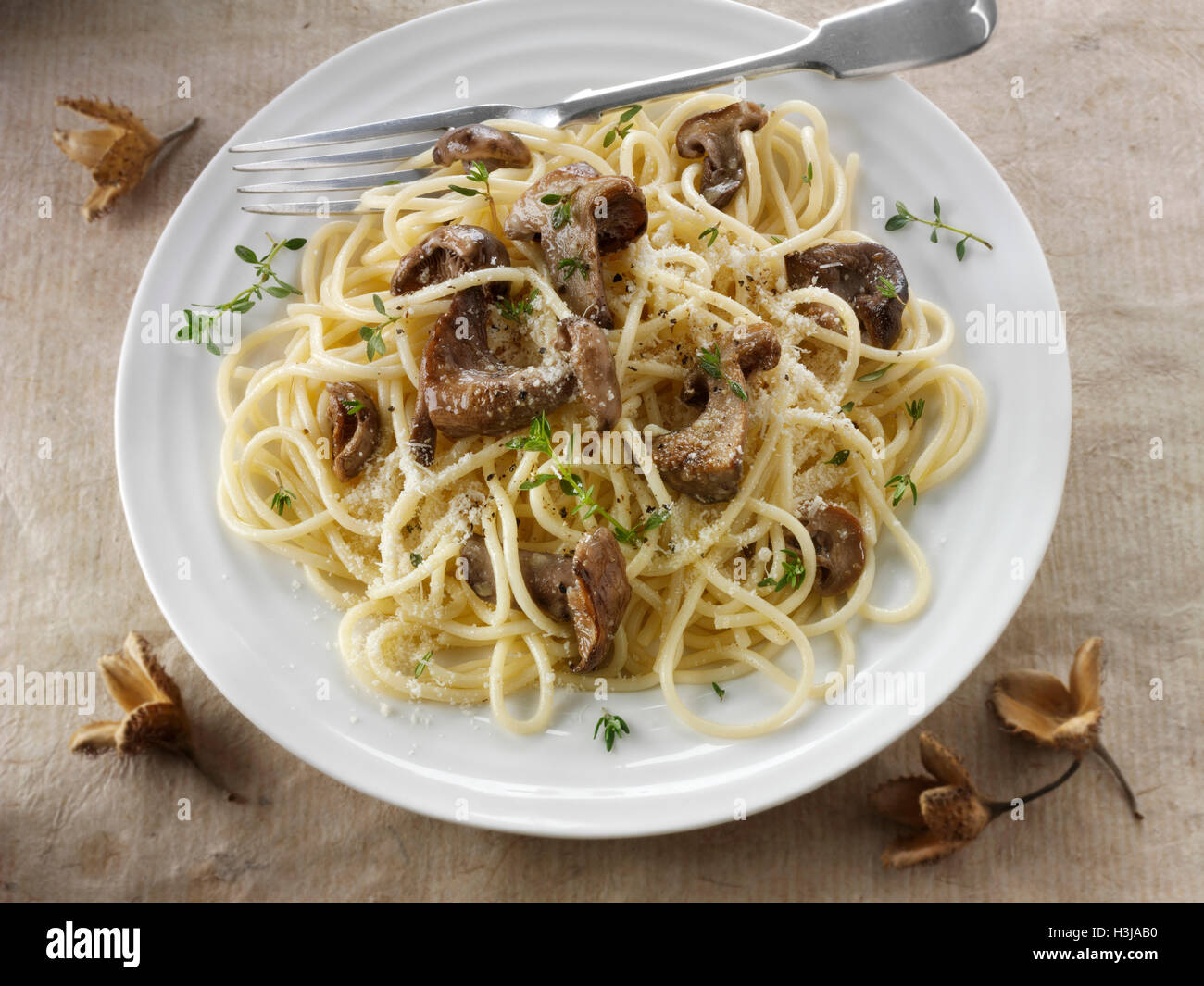 Sauteed wild organic Pied Bleu Mushrooms (Clitocybe nuda), Blewit or Blue Foot mushrooms cooked in butter with spaghetti - Stock Image