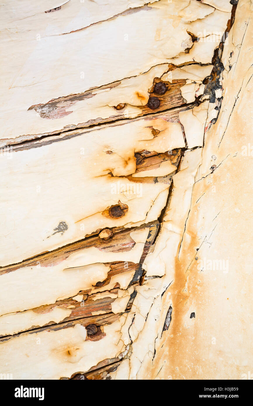 Flaking paint on an old fishing boat, Kefalonia, Greece. Stock Photo