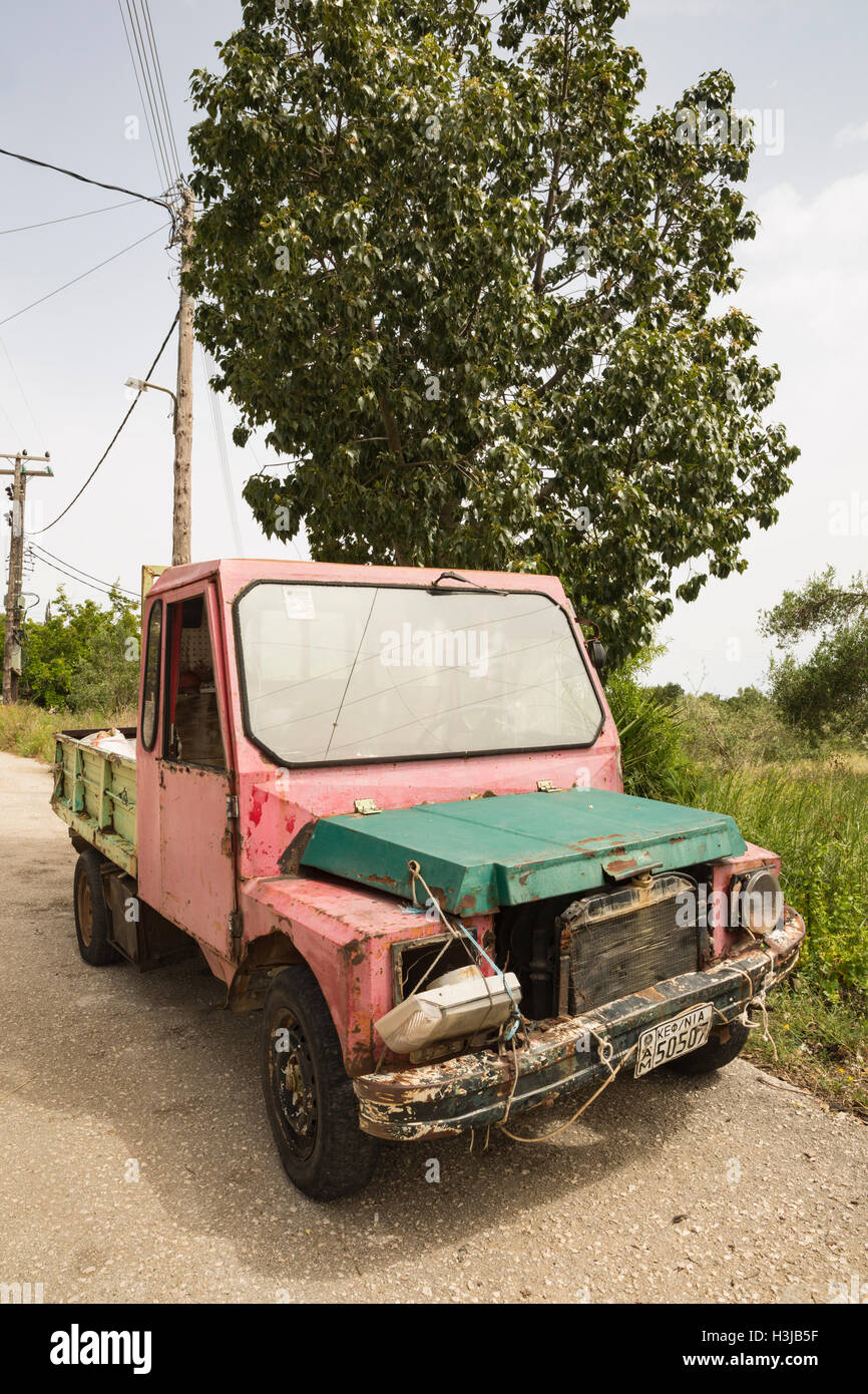 An old Greek Van has seen better days, Kefalonia, Greece. Stock Photo