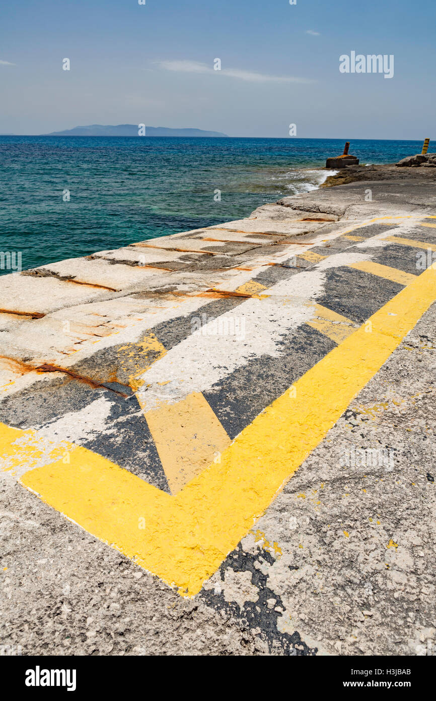 Pessada Ferry Port, Cephalonia, with Zakinthos in the distance. Stock Photo