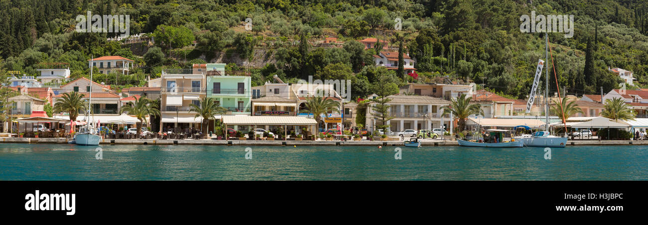 Sami Harbour front and Tavernas, Kefalonia, Greece. Stock Photo