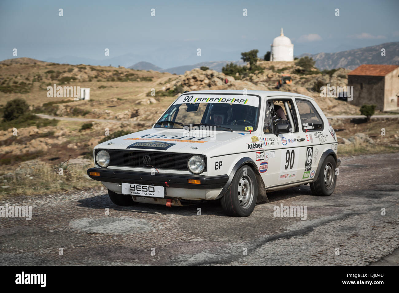 PALASCA, CORSICA - 7th OCTOBER 2016. R Royer & J P Giovannangeli in their Volkswagen Golf in the 2016 Tour de - Stock Image