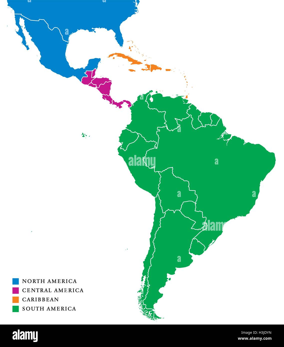 Latin America subregions map. The subregions Caribbean, North Stock ...