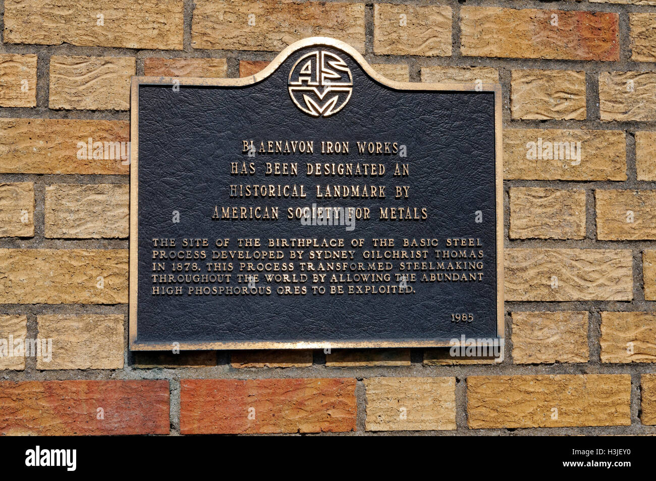Plaque from the American Society for Metals, Blaenavon Iroronworks, Torfaen, South Wales Valleys - Stock Image