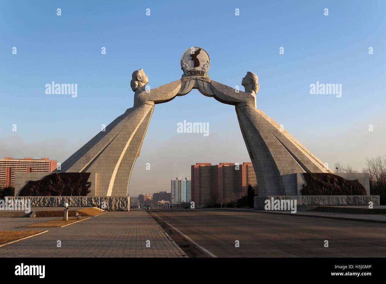 rAch of Reunification, Pyongyang, North Korea - Stock Image