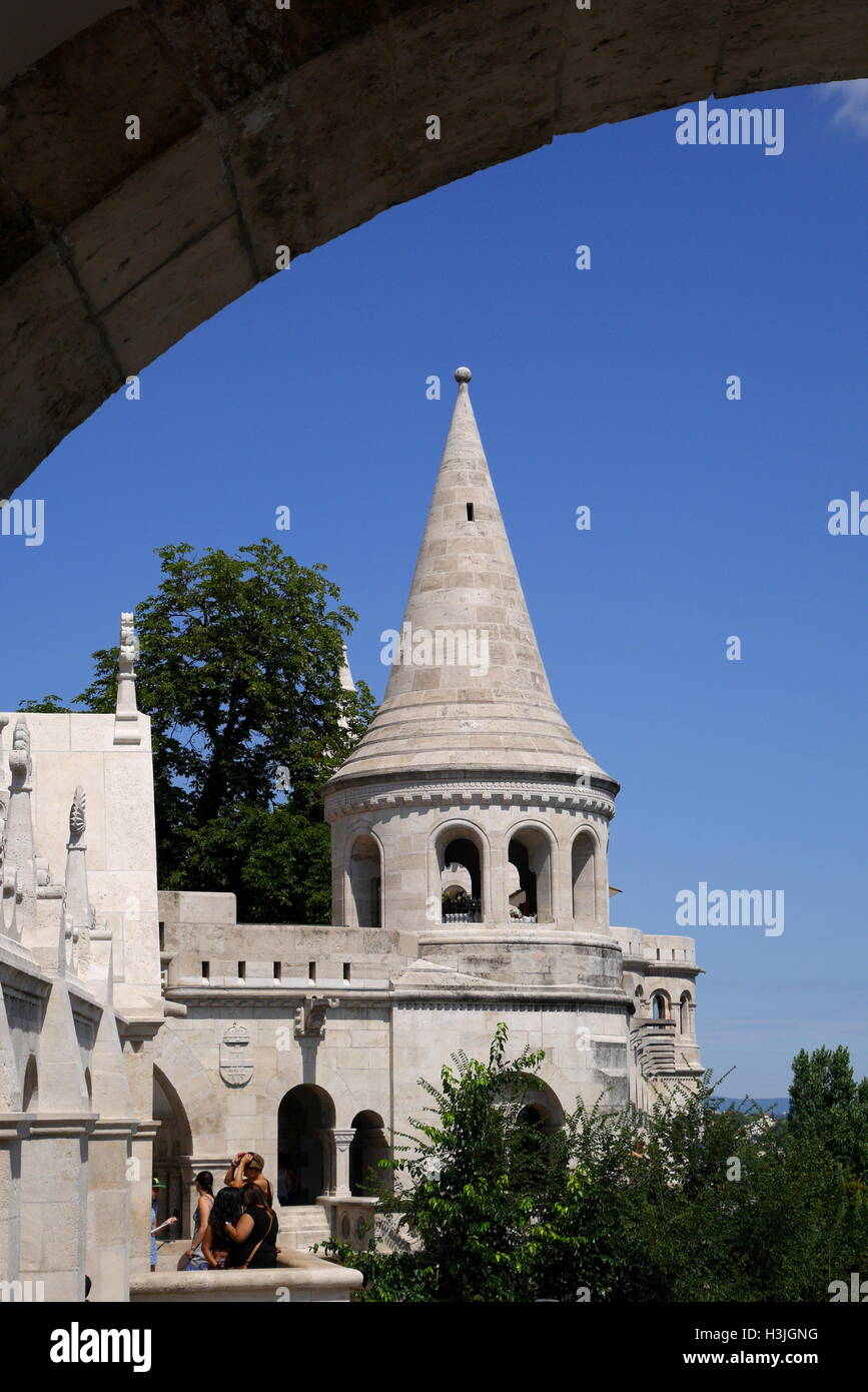 The Fishermen's Bastion, designed by Frigyes Schulek in 1905, Budapest, Hungary - Stock Image