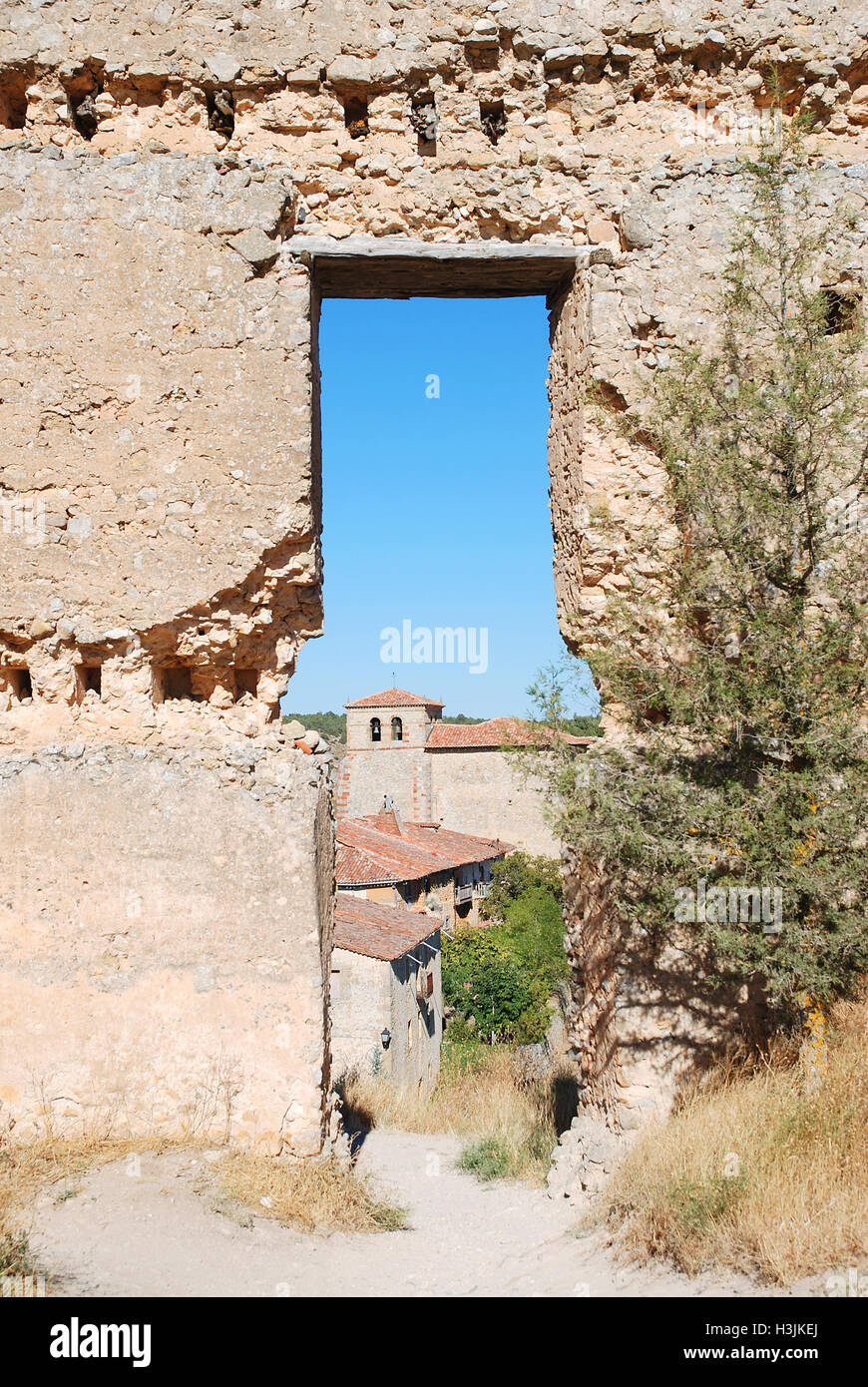 View of the village from the ruins of the castle. Calatañazor, Soria province, Castilla Leon, Spain. Stock Photo