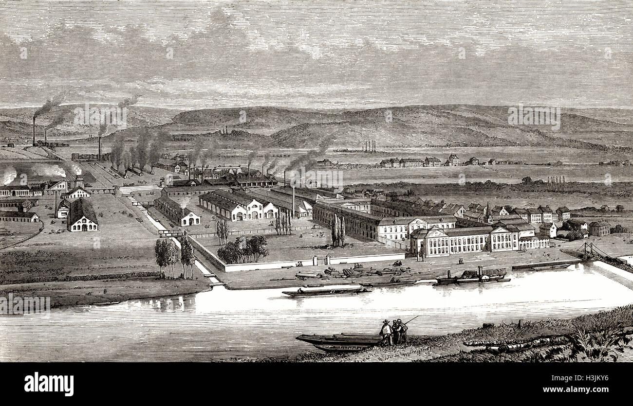 The mechanical engineering building of John Cockerill & Company, Seraing, Belgium, 19th century Stock Photo
