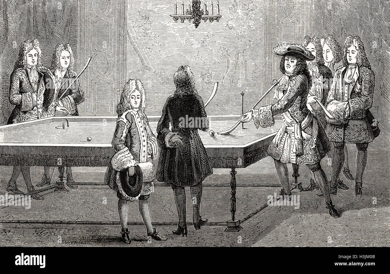 Louis XIV playing billiards, Versailles, France, 1694, Louis the Great, King of France, 1638-1715 Stock Photo