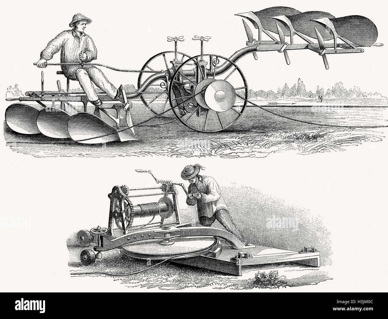 An agricultural plow system powered by a cable winch by muscular force, invented by M. Lotz, 19th Century - Stock Image