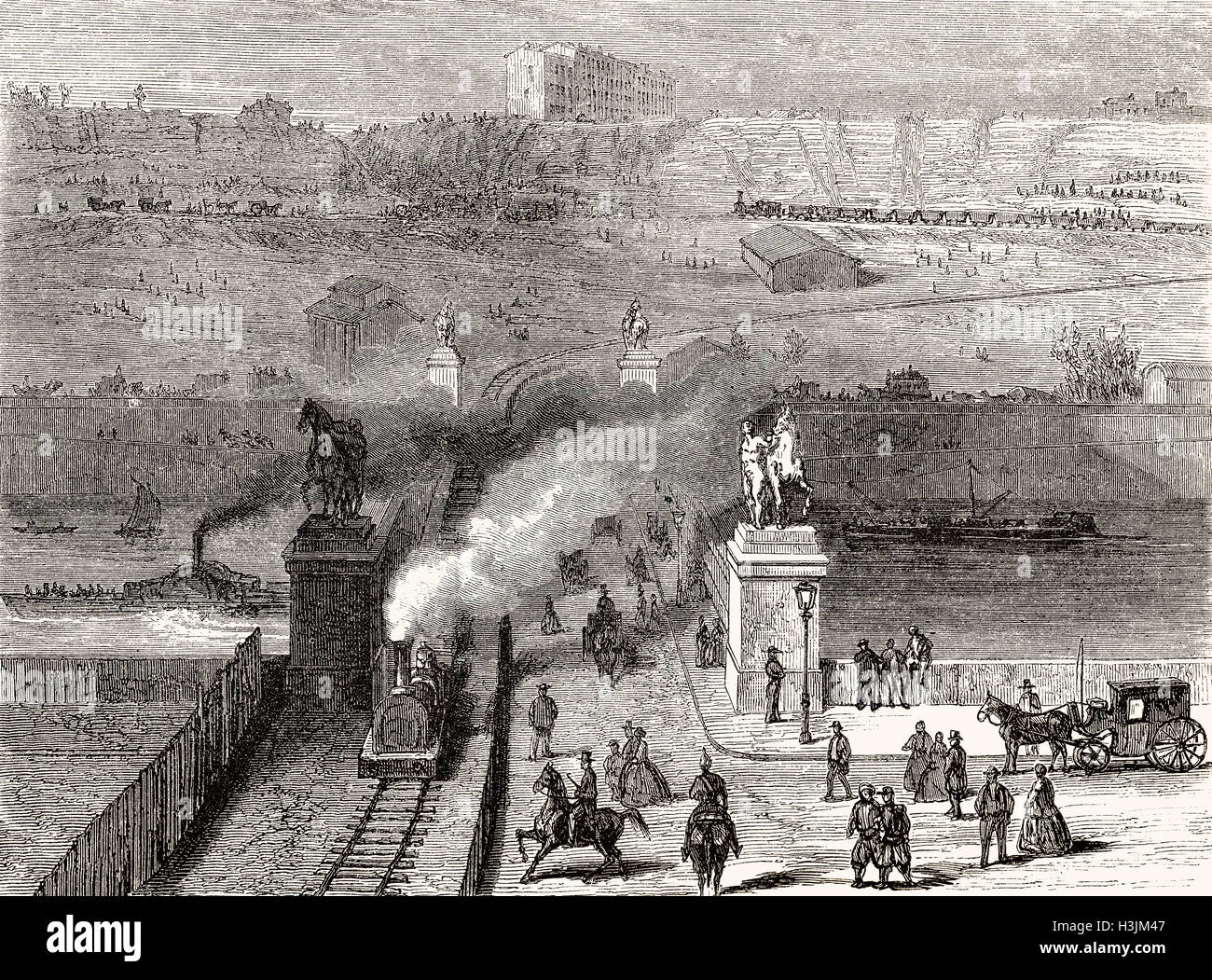 Clearing away the Trocadero hill for building the Champ de Mars, International Exposition of 1867, Paris, France, - Stock Image