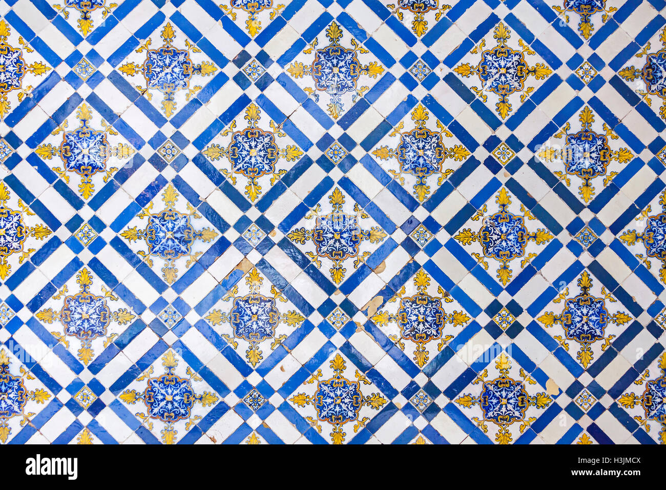 Typical Portuguese old ceramic wall tiles (Azulejos) on the building ...
