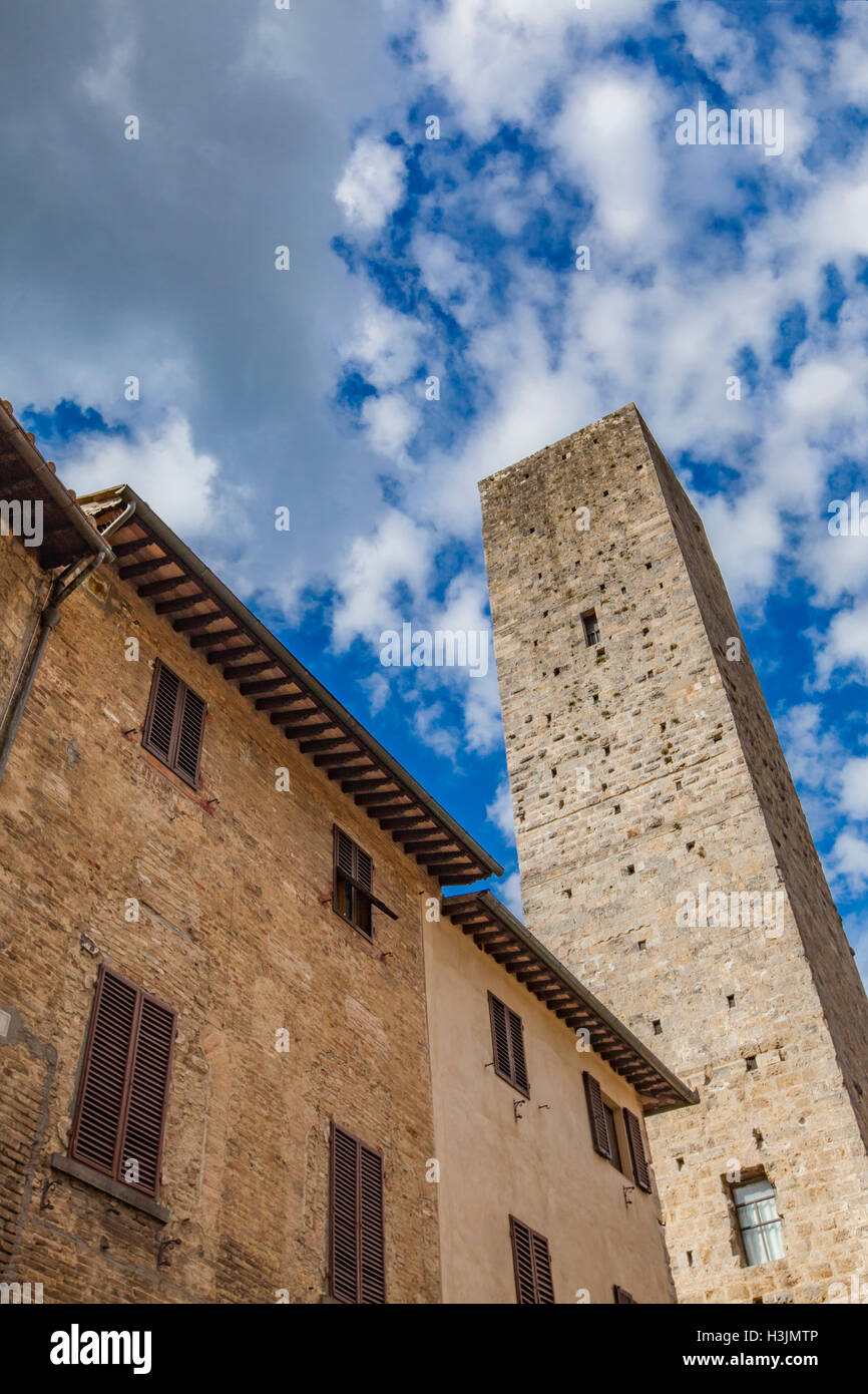 View at stone tower at San Gimignano, Tuscany, Italy - Stock Image