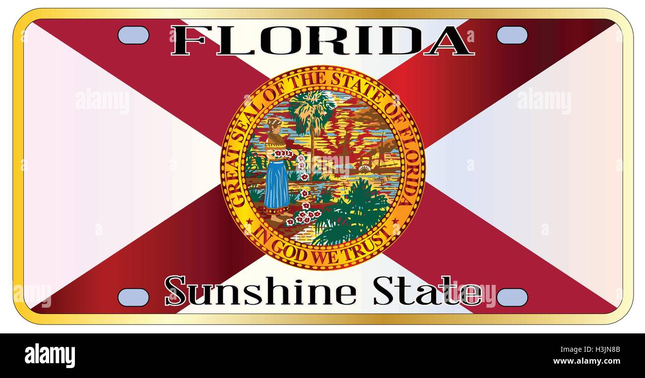 3f9682468e5 Florida state license plate with state flag over a white background - Stock  Image
