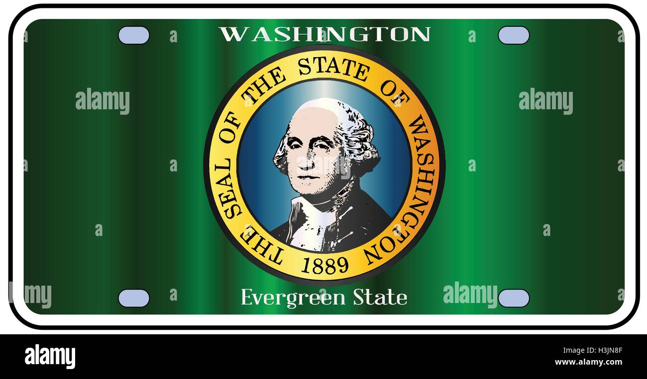 Washington state license plate in the colors of the state flag with the flag icons over a white background - Stock Vector