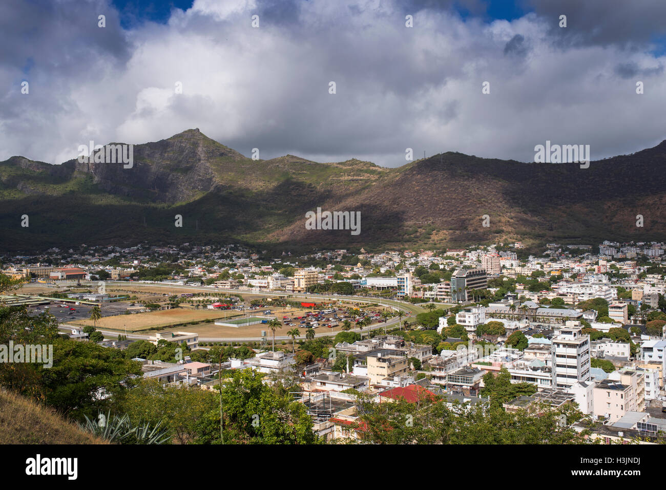 View over Port Louis the capital of Mauritius Stock Photo