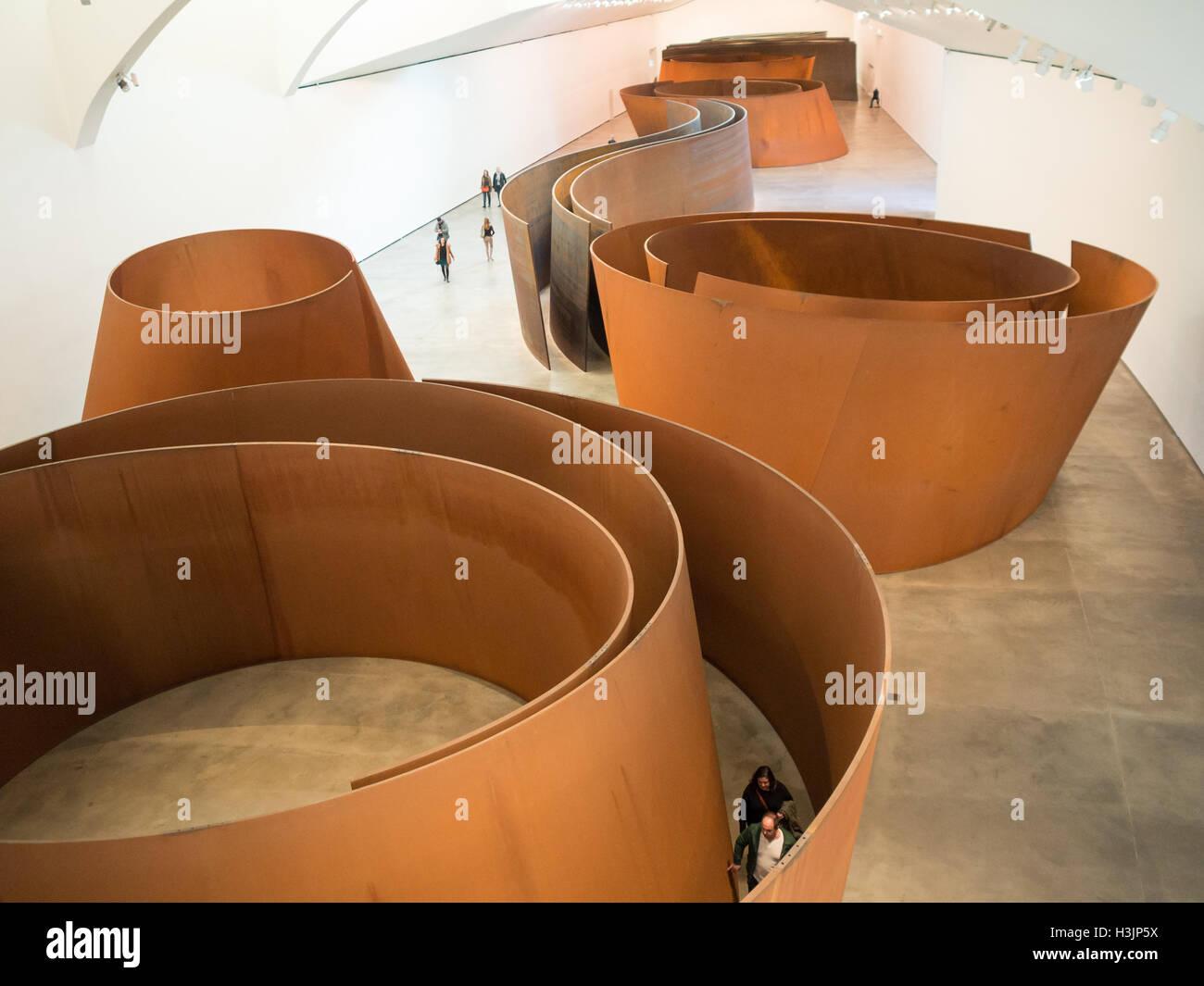 General view of Richard Serra sculptures room in Guggenheim