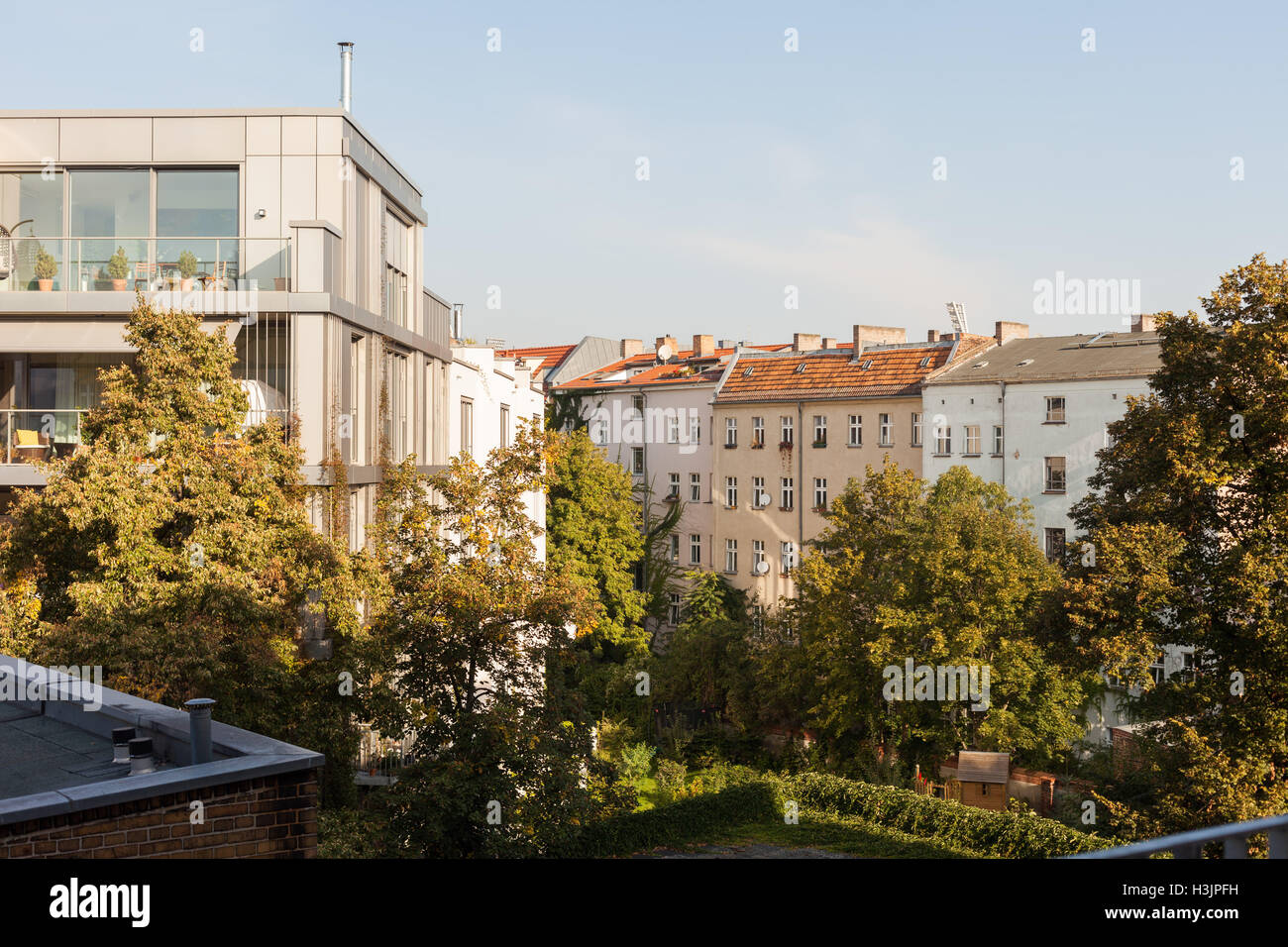 A mix of new and old apartments in Berlin's Prenzlauer Berg neighborhood Stock Photo