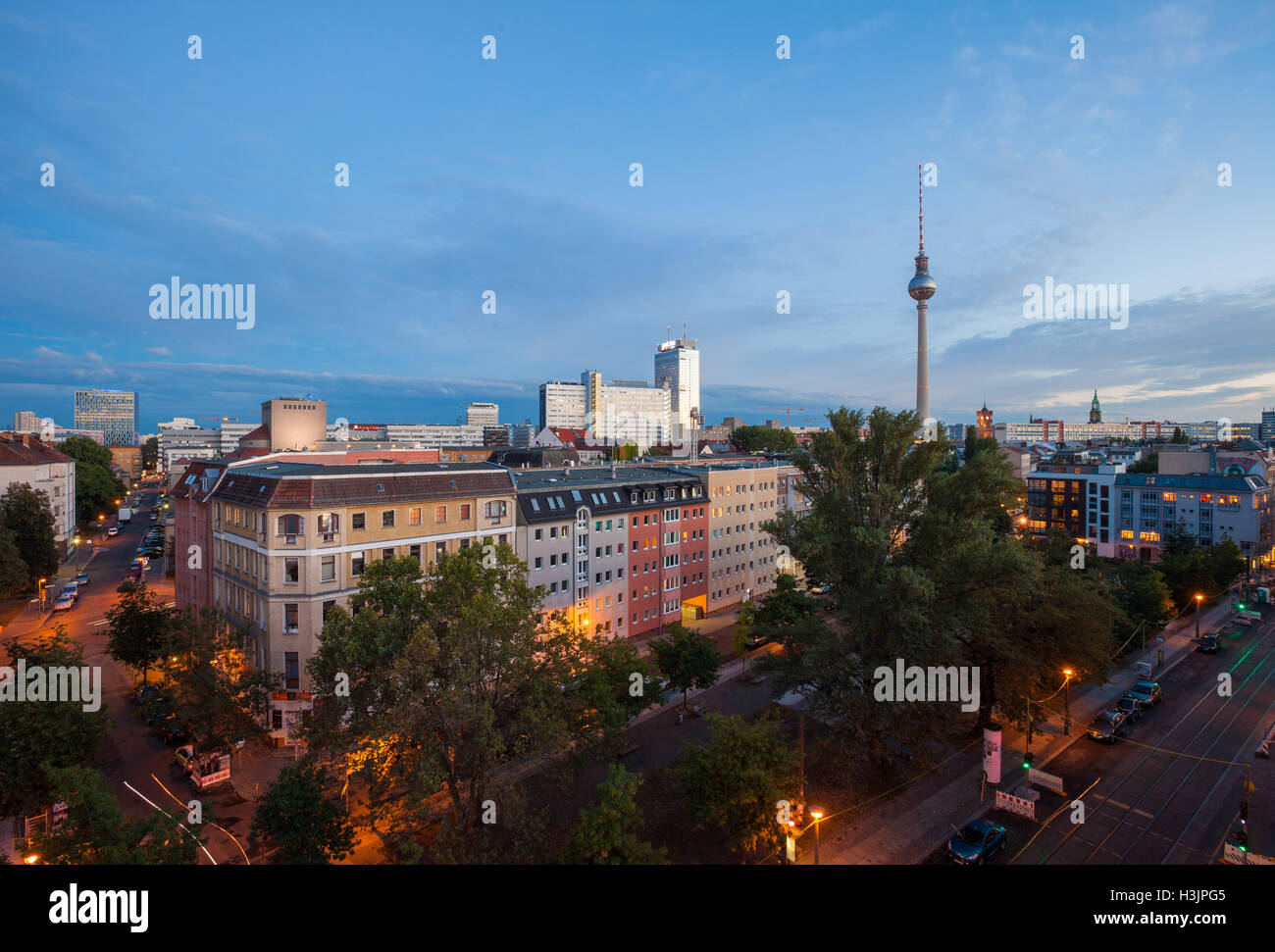 BERLIN - October 2, 2016: Berlin's Alexanderplatz and Fernsehturm (TV Tower) on October 2, 2016. Stock Photo