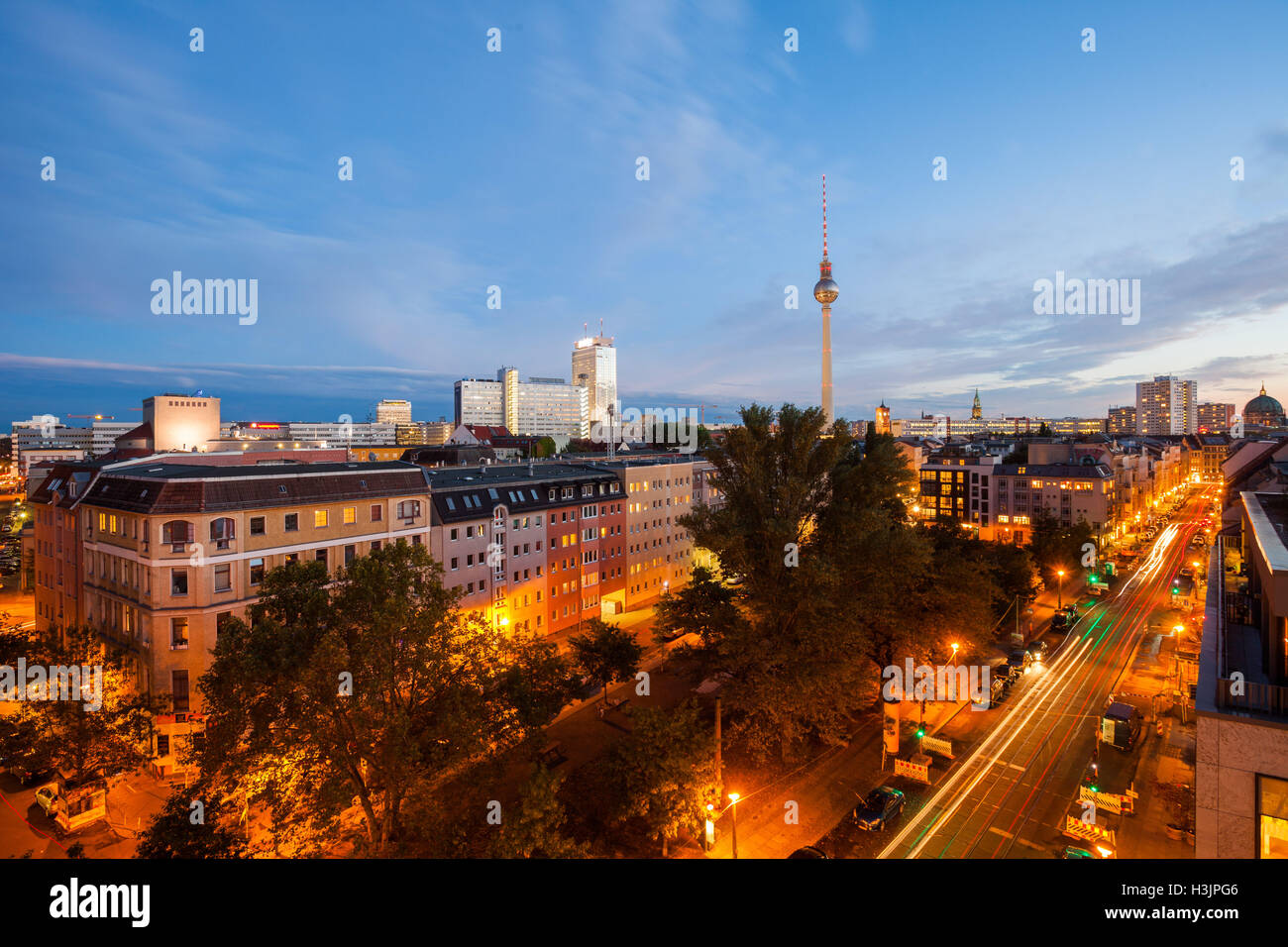 Berlin's Alexanderplatz and Fernsehturm at twilight Stock Photo