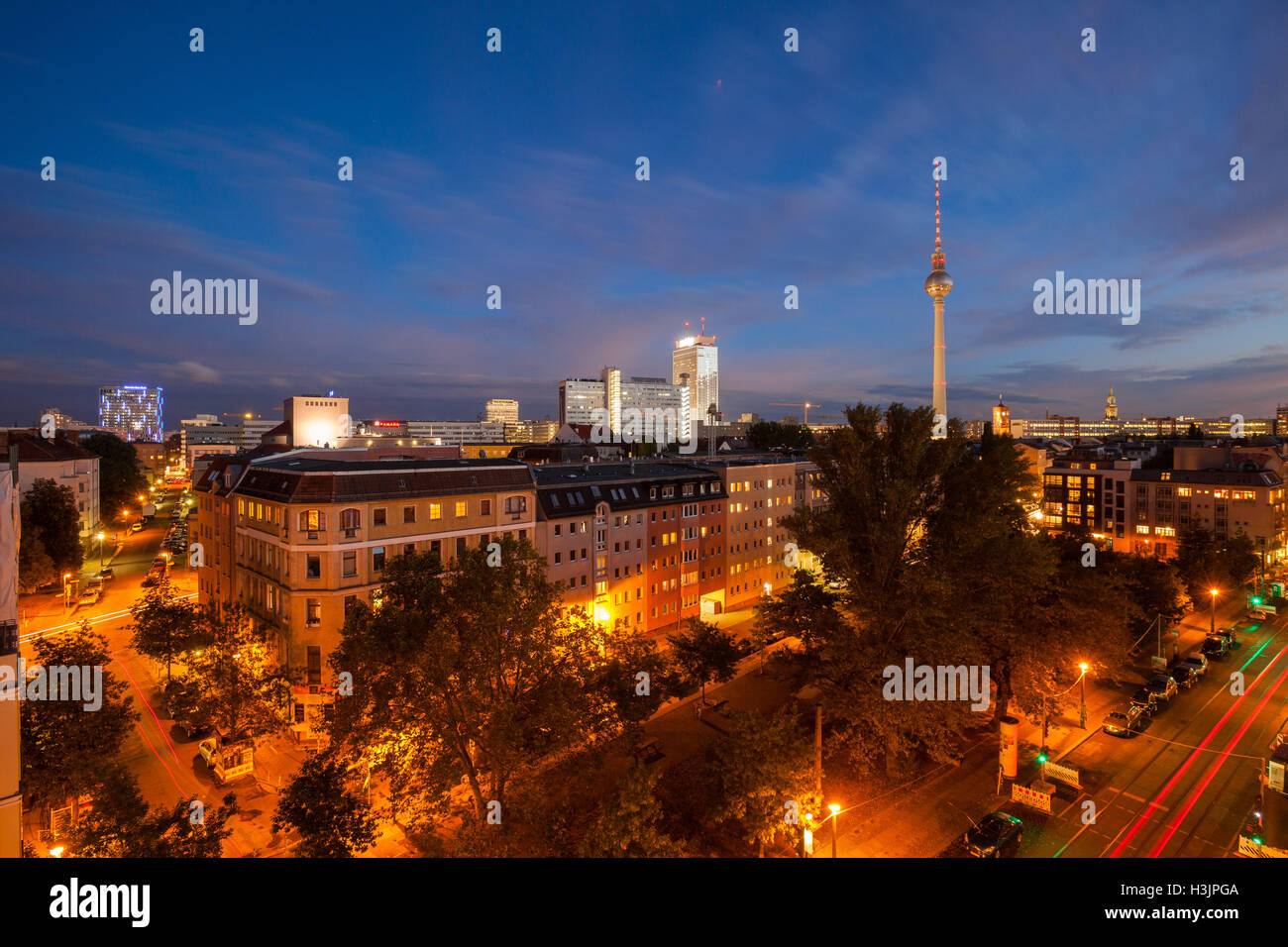 BERLIN - October 2, 2016: Berlin's Alexanderplatz and Fernsehturm (TV Tower) on October 2, 2016. Stock Photo