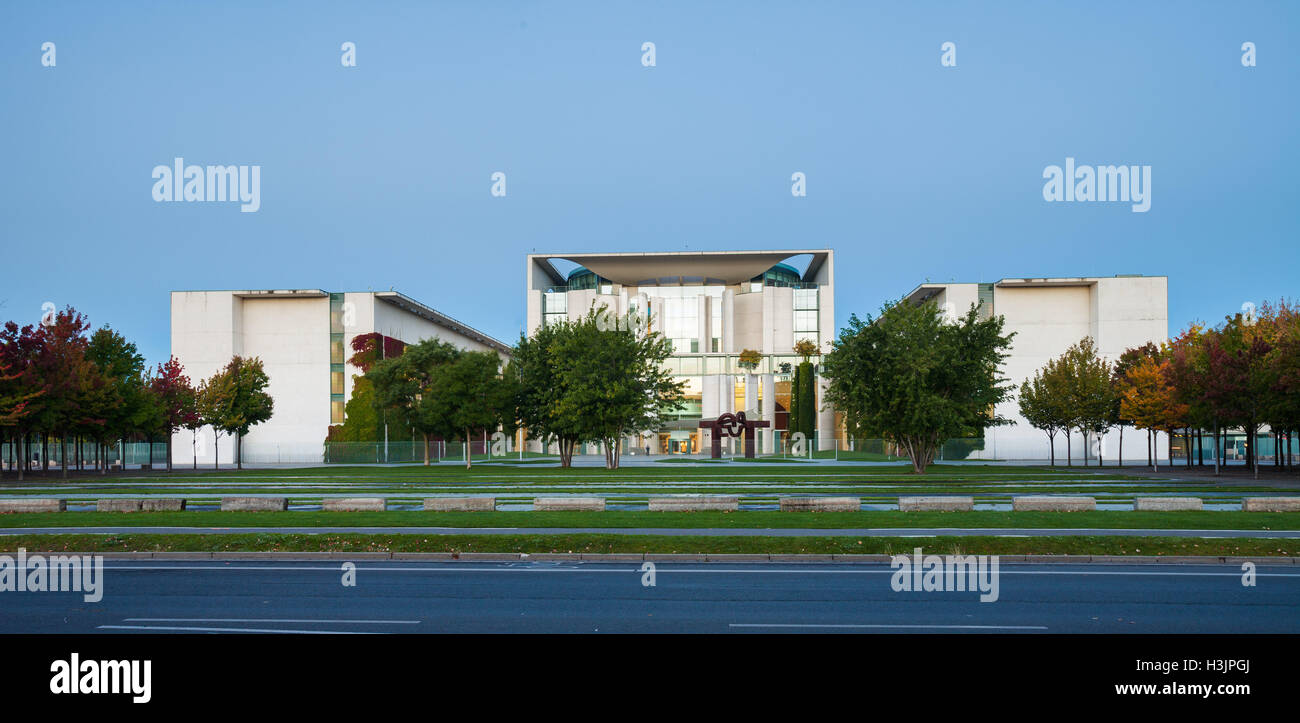 The front of the Federal Chancellery (Bundeskanzleramt) in Berlin Stock Photo