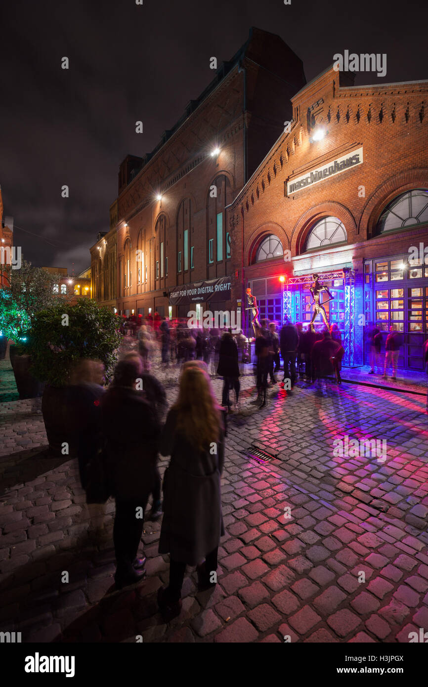 BERLIN - October 8, 2016: Clubgoers wait in line for Battle of the Bands at the Maschinenhaus in the Kulturbrauerei, Stock Photo