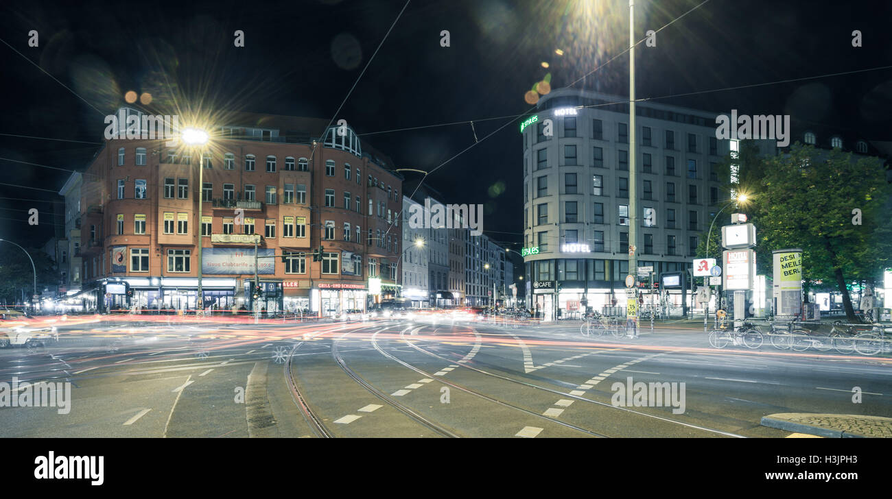 BERLIN - October 8, 2016: Traffic moves through Rosenthaler Platz (Rosenthal Square) in Berlin on the night of October Stock Photo